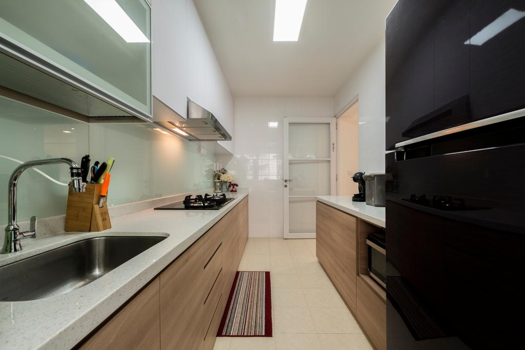 Modern, HDB, Kitchen, Hougang Parkview, Interior Designer, Starry Homestead, Minimalistic, Modern Contemporary Kitchen, Ceramic Tiles, Wooden Kitchen Cabinet, Wooden Kitchen Cupboard, White Laminated Top, Recessed Lights, Ceiling Lights, Wall Mounted White Cabinet, Wall Mounted White Cupboard, Building, Housing, Indoors, Loft