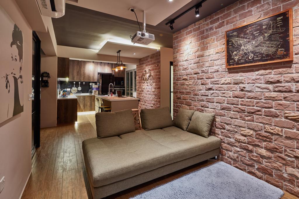 Scandinavian, HDB, Living Room, Rivervale Crescent, Interior Designer, Edge Interior, Industrial, Couch, Furniture, Lighting