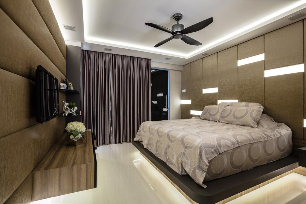 Contemporary, HDB, Bedroom, Hougang Street 61, Interior Designer, Sky Creation Asia, Modern Contemporary Bedroom, Marble Floor, Hidden Interior Lighting, Bedding Panel, Elevated Bedding Platform, Wall Mounted Television, Wooden Television Console, Sling Curtain, Bed, Furniture