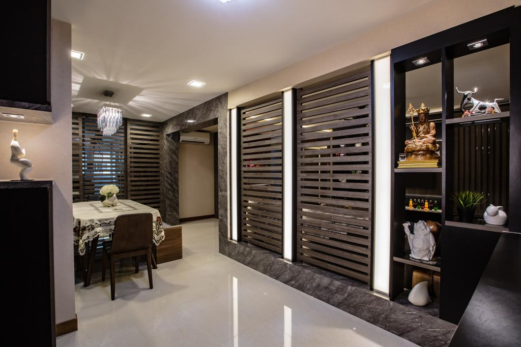 Contemporary, HDB, Dining Room, Hougang Street 61, Interior Designer, Sky Creation Asia, Dining Table, Furniture, Table