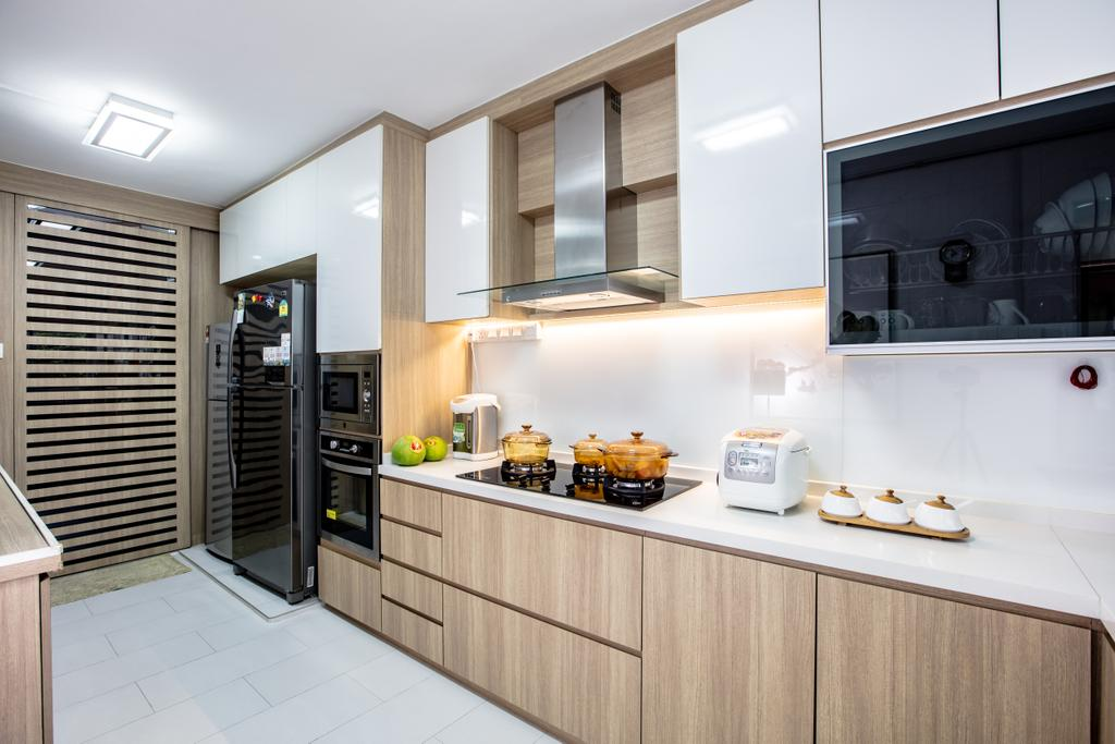 Contemporary, HDB, Kitchen, Hougang Street 61, Interior Designer, Sky Creation Asia, Modern Contemporary Kitchen, Marble Floor, Wooden Kitchen Cupboard, Wooden Kitchen Cabinet, White Laminated Top, Hidden Interior Lighting, Ceiling Lights, Built In Oven, Indoors, Interior Design, Room