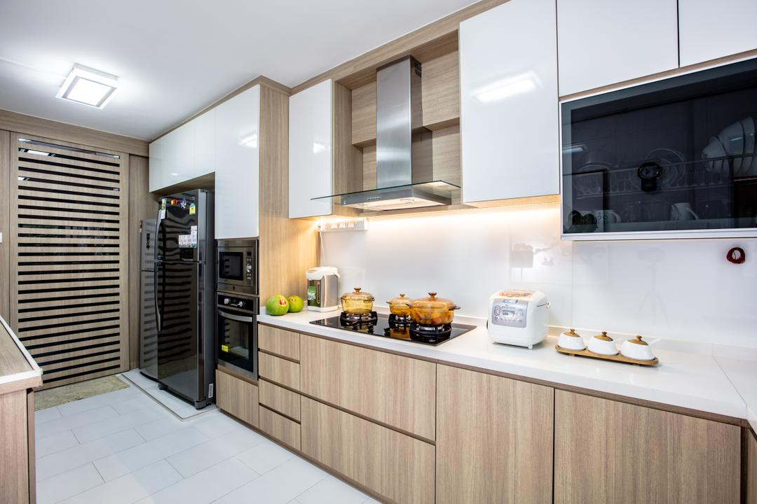 Hougang Street 61, Sky Creation Asia, Contemporary, Kitchen, HDB, Modern Contemporary Kitchen, Marble Floor, Wooden Kitchen Cupboard, Wooden Kitchen Cabinet, White Laminated Top, Hidden Interior Lighting, Ceiling Lights, Built In Oven, Indoors, Interior Design, Room