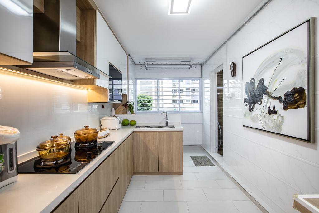 Contemporary, HDB, Kitchen, Hougang Street 61, Interior Designer, Sky Creation Asia, Indoors, Interior Design, Bowl, Corridor, Art, Flooring