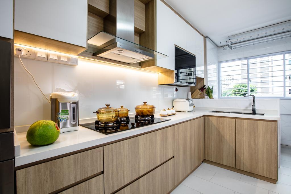 Contemporary, HDB, Kitchen, Hougang Street 61, Interior Designer, Sky Creation Asia, Indoors, Interior Design, Room, Building, Housing, Loft