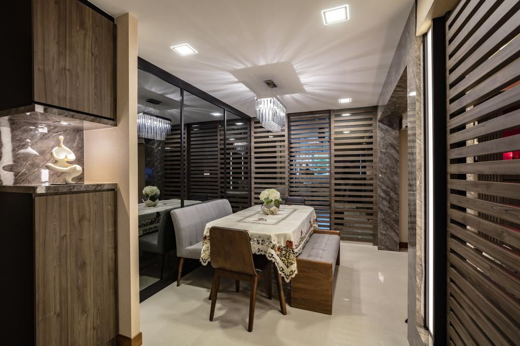 Contemporary, HDB, Dining Room, Hougang Street 61, Interior Designer, Sky Creation Asia, Modern Contemporary Dining Room, Marble Floor, Recessed Lights, Hanging Lights, Dining Table, Dining Chair, Dining Bench, Home Decor, Linen, Tablecloth, Indoors, Interior Design, Room, Furniture, Table