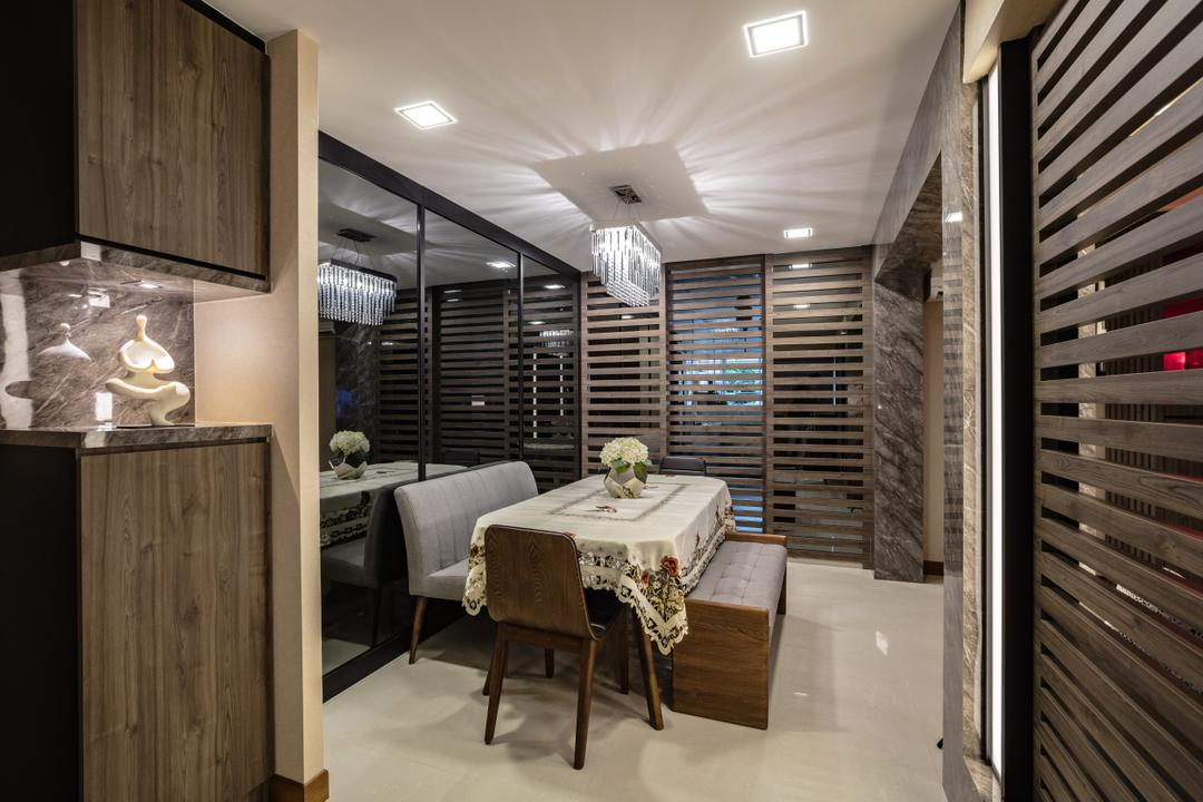 Hougang Street 61, Sky Creation Asia, Contemporary, Dining Room, HDB, Modern Contemporary Dining Room, Marble Floor, Recessed Lights, Hanging Lights, Dining Table, Dining Chair, Dining Bench, Home Decor, Linen, Tablecloth, Indoors, Interior Design, Room, Furniture, Table