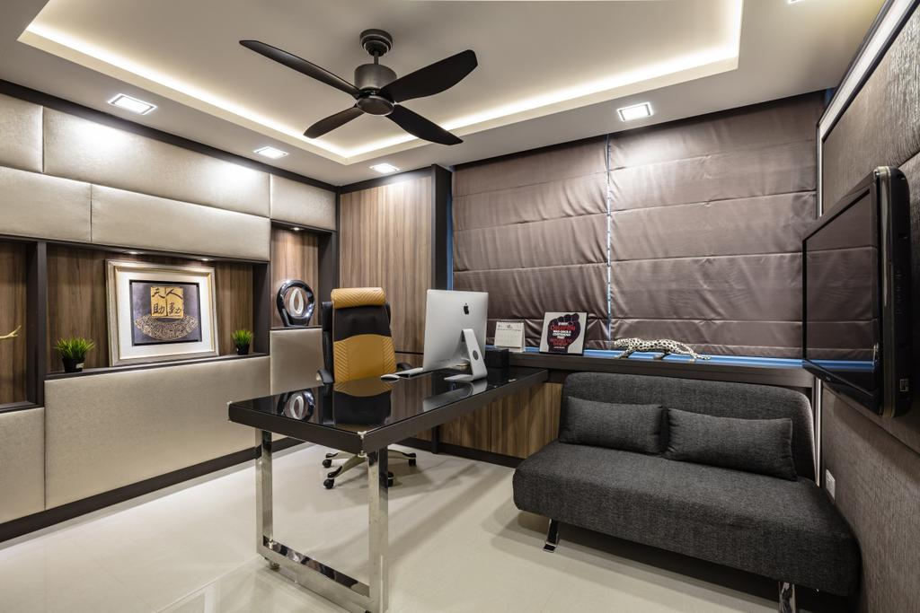 Contemporary, HDB, Study, Hougang Street 61, Interior Designer, Sky Creation Asia, Modern Contemporary Study Room, Lounge Chair, Recessed Lights, Coffered Ceiling, Hidden Interior Lighting, Wooden Panel, Black Study Desk, Couch, Furniture, Indoors, Interior Design