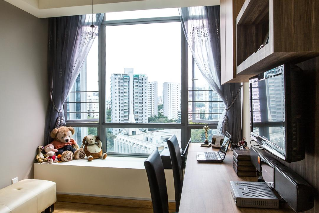 Park Infinia, Sky Creation Asia, Bedroom, Condo, Modern Contemporary Bedroom, Wooden Floor, Wooden Desk, Black Chair, Wooden Shelves, Wooden Cabinet, Sling Curtain, Ceiling Fan, Ceiling Lights, Teddy Bear, Toy, HDB, Building, Housing, Indoors, Dining Room, Interior Design, Room