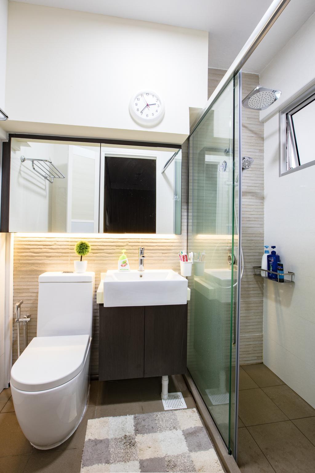 Industrial, HDB, Bathroom, Tampines Street 81, Interior Designer, Sky Creation Asia, Modern, Indoors, Interior Design, Room