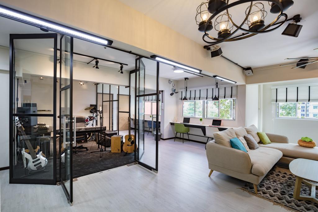 Industrial, HDB, Living Room, Tampines Street 81, Interior Designer, Sky Creation Asia, Modern, Chandelier, Lamp, Indoors, Interior Design, Light Fixture