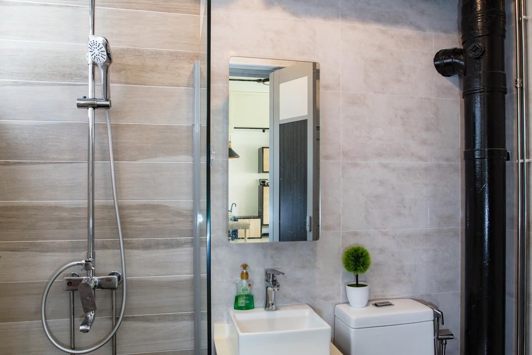 Tampines Street 81, Sky Creation Asia, Industrial, Modern, Bathroom, HDB, Modern Contemporary Bathroom, Marble Floor, Wooden Sink Counter, White Sink Countertop, Protruding Sink, Glass Panelled Shower, Indoors, Interior Design, Room
