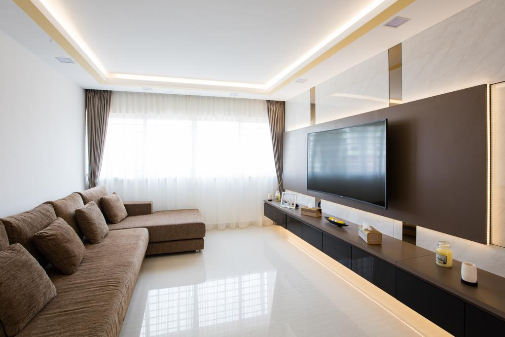 Contemporary, HDB, Living Room, Tampines Street 83, Interior Designer, Sky Creation Asia, Couch, Furniture, Indoors, Interior Design