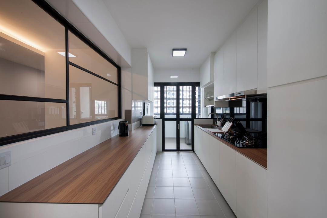 Choa Chu Kang Avenue 1 (Block 808), Space Concepts Design, Modern, Kitchen, HDB, Modern Contemporary Kitchen, Ceramic Tiles, Ceiling Lights, White Kitchen Cabinet, White Kitchen Cupboard, Wooden Laminated Top, Appliance, Electrical Device, Oven, Floor, Flooring