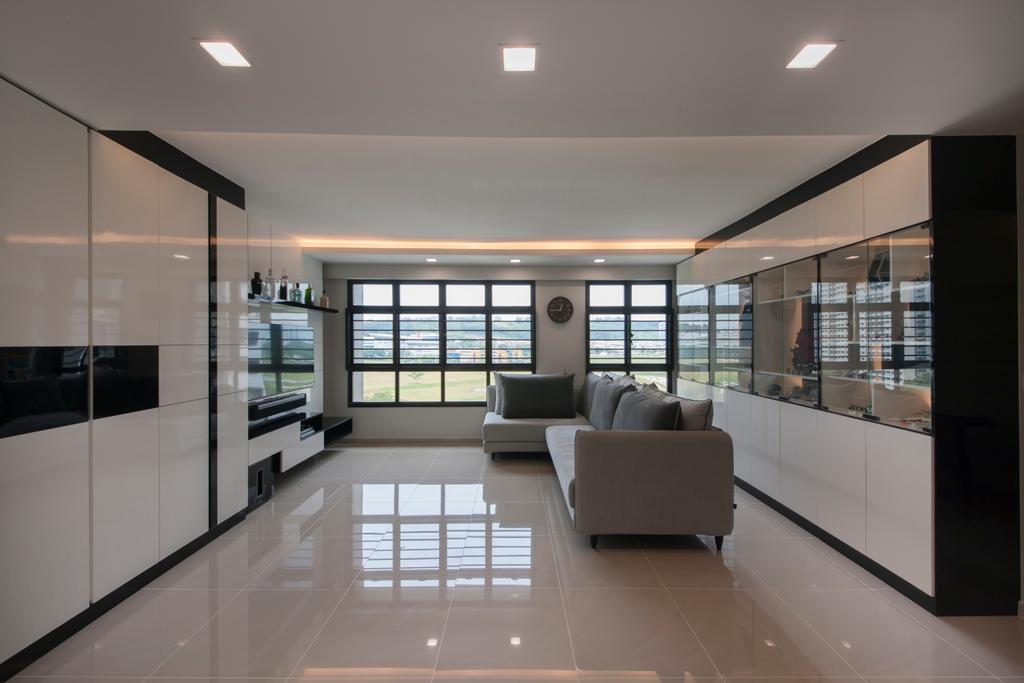 Modern, HDB, Living Room, Choa Chu Kang Avenue 1 (Block 808), Interior Designer, Space Concepts Design, Modern Contemporary Living Room, Marble Floor, Recessed Lights, Sectional Sofa, Wall Mounted Television, Television Console, Spacious, Couch, Furniture, Indoors, Interior Design