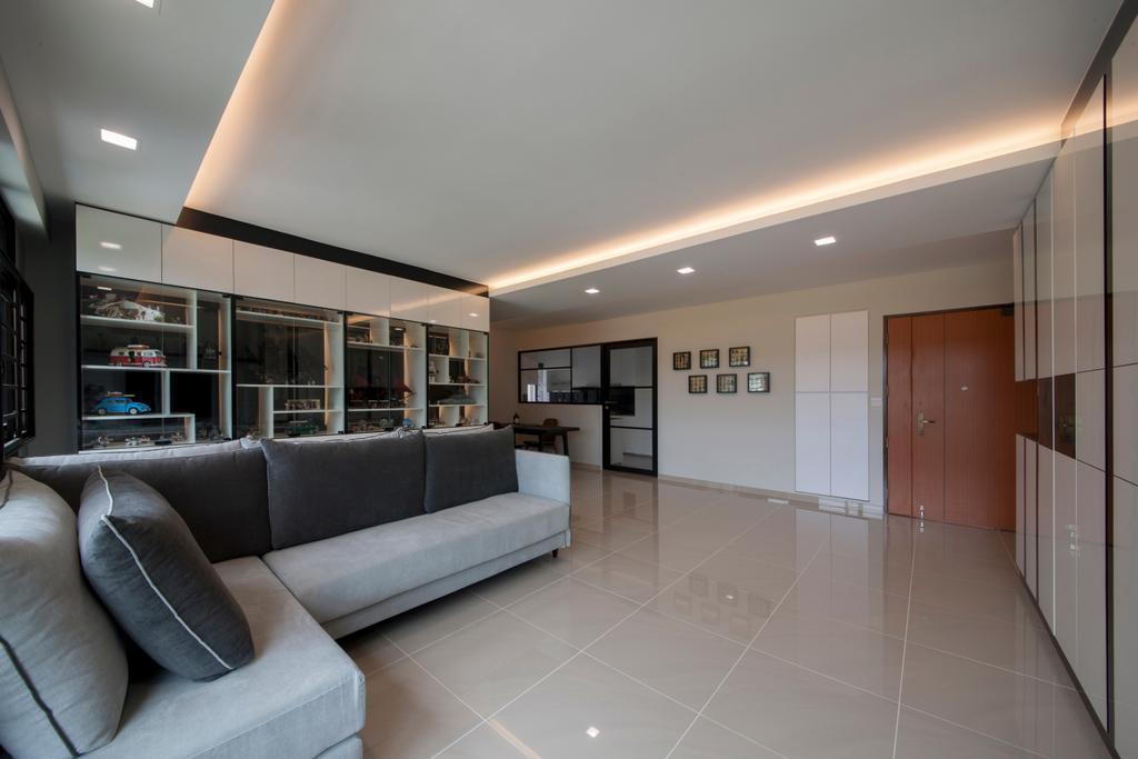 Modern, HDB, Living Room, Choa Chu Kang Avenue 1 (Block 808), Interior Designer, Space Concepts Design, Couch, Furniture, Lighting, Electronics, Entertainment Center, Indoors, Interior Design