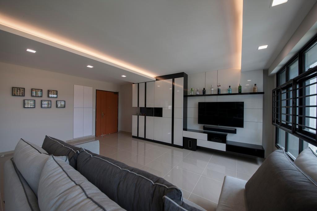 Modern, HDB, Living Room, Choa Chu Kang Avenue 1 (Block 808), Interior Designer, Space Concepts Design, Couch, Furniture, Electronics, Entertainment Center