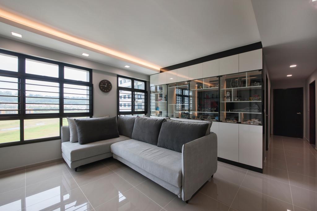 Modern, HDB, Living Room, Choa Chu Kang Avenue 1 (Block 808), Interior Designer, Space Concepts Design, Couch, Furniture, Corridor, Indoors, Interior Design, Appliance, Electrical Device, Fridge, Refrigerator