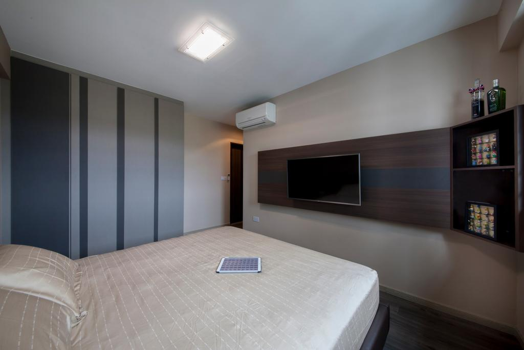 Modern, HDB, Bedroom, Choa Chu Kang Avenue 1 (Block 808), Interior Designer, Space Concepts Design, King Size Bed, Cozy, Cosy, Ceiling Fan, Wall Mounted Television, Wooden Panel, Indoors, Room