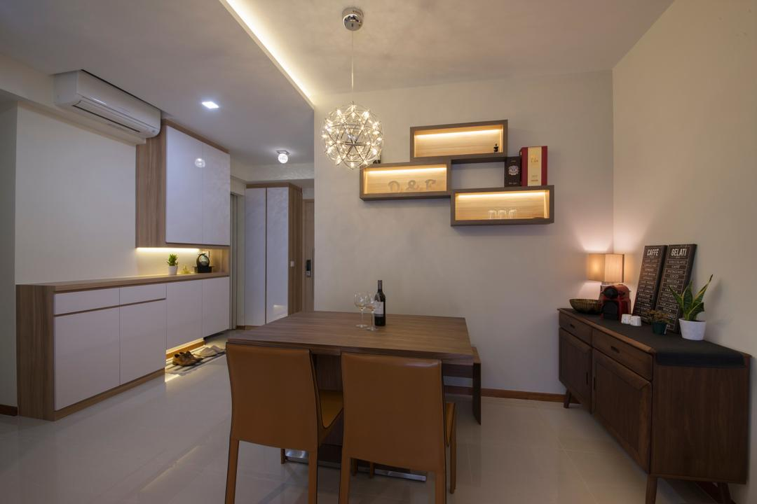 Forestville, Project Guru, Dining Room, HDB, Modern Contemporary Dining Room, Wooden Dining Table, Wooden Dining Chair, Wall Mounted Shelves, Hanging Lights, Chandelier, Recessed Lights, White Cabinet, Furniture, Sideboard, Dining Table, Table, Indoors, Interior Design, Room