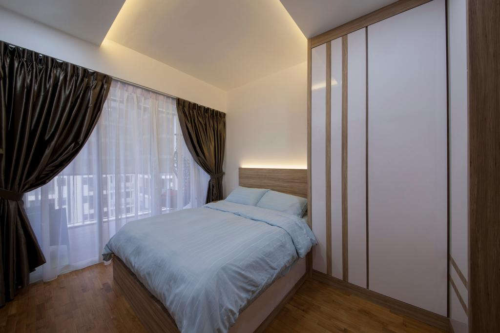 HDB, Bedroom, Forestville, Interior Designer, Project Guru, Modern Contemporary Bedroom, Wooden Floor, King Size Bed, Cozy, Cosy, Sling Curtain, White Wardrobe, Hidden Interior Lighting, Wooden Bedding Platform, Curtain, Home Decor, Indoors, Interior Design, Room