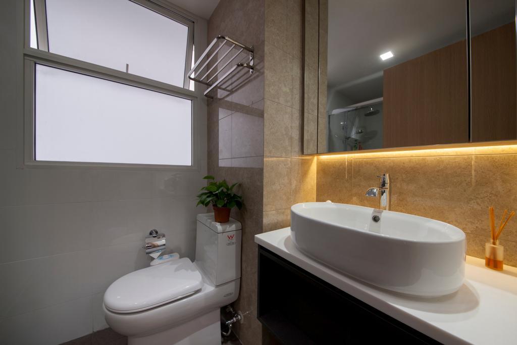 HDB, Bathroom, Forestville, Interior Designer, Project Guru, Indoors, Interior Design, Room, Toilet, Flora, Jar, Plant, Potted Plant, Pottery, Vase, Bathtub, Tub