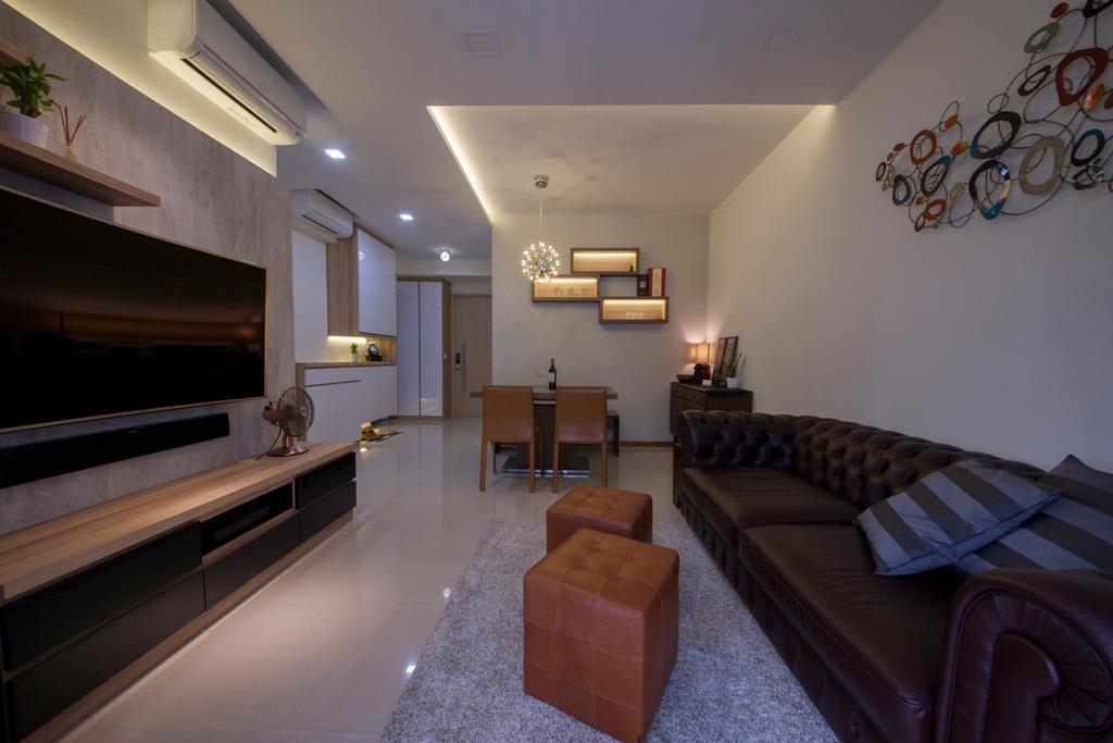 HDB, Living Room, Forestville, Interior Designer, Project Guru, Couch, Furniture, Glasses, Building, Housing, Indoors, Loft