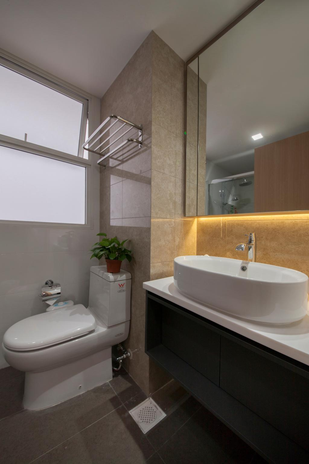 HDB, Bathroom, Forestville, Interior Designer, Project Guru, Modern Contemporary Bathroom, Black Sink Counter, White Sink Countertop, Protruding Sink, Hidden Interior Lighting, Ceramic Tiles, Architecture, Building, Skylight, Window, Indoors, Interior Design, Room