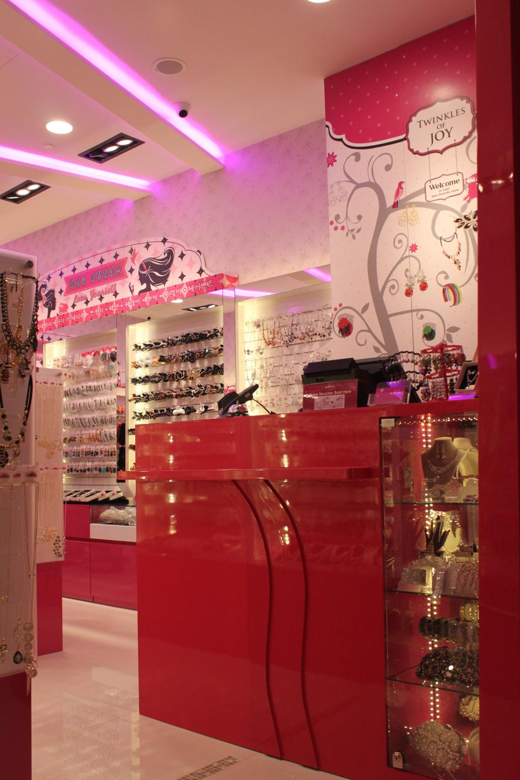 Aries (Westgate), Commercial, Interior Designer, Le Interi, Traditional, Pink Theme, Pink, Concealed Lighting, Pink Lighting, Recessed Lighting, Recessed Lights, Showcase Shelf, Display Shelf, Wallpaper, Pink Wallpaper, Glossy Counter, Glossy Pink Counter, Pink Counter, Counter
