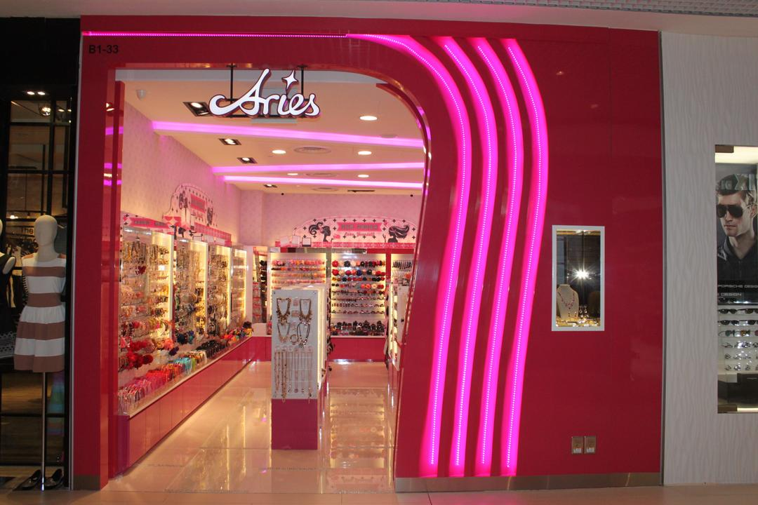 Aries (Westgate), Le Interi, Traditional, Commercial, Led Lighting, Pink Main Entrance, Bright Pink, Dark Pink, Signage, Indoors, Interior Design, Human, Mannequin, Person