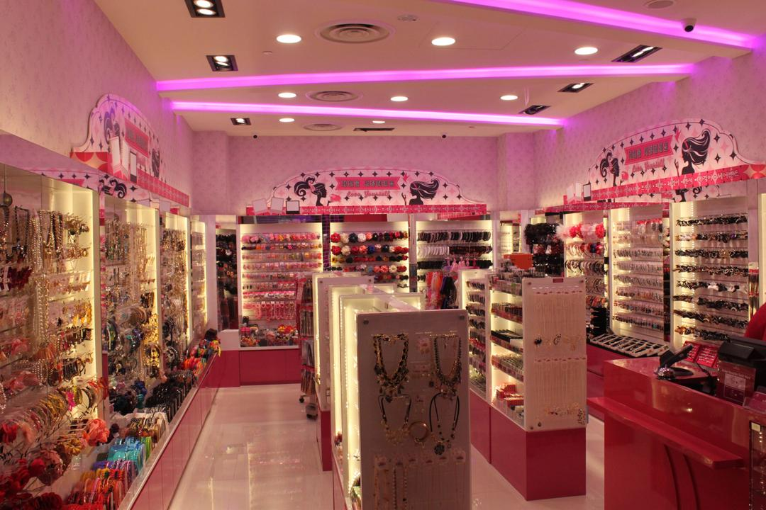 Aries (Westgate), Le Interi, Traditional, Commercial, Recessed Lighting, Pink Lighting, Pink Lights, Concealed Lighting, Pink Theme, Display Shelf, Showcase Shelves, Wall Mounted Shelves, Shop