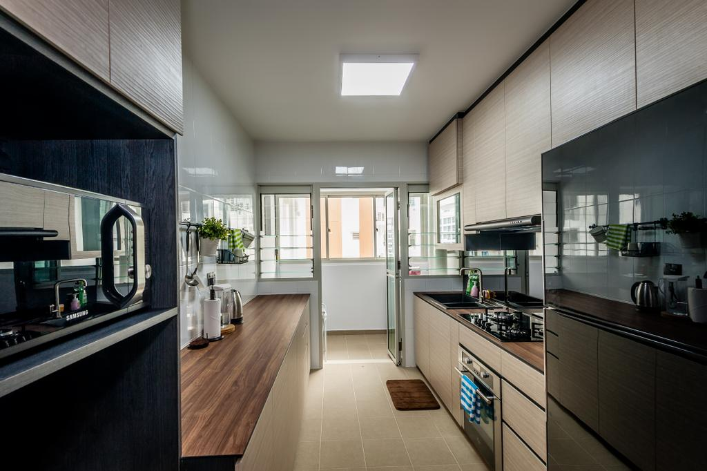 Scandinavian, HDB, Kitchen, Punggol Waterway Terraces, Interior Designer, Le Interi, Ceiling Lighting, Laminated Cabinets, Wooden Kitchen Top, Indoors, Interior Design, Room