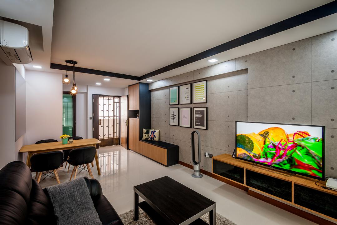 Punggol Waterway Terraces, Le Interi, Scandinavian, Living Room, HDB, False Ceiling, Black Coffee Table, Grey Wall, Gray Wall, Black Sof, Brown Tv Console, Wall Mounted Tv Console, Flatscreen Tv, Wallart, Wall Portraits, Couch, Furniture, Dining Table, Table, Indoors, Interior Design, Room
