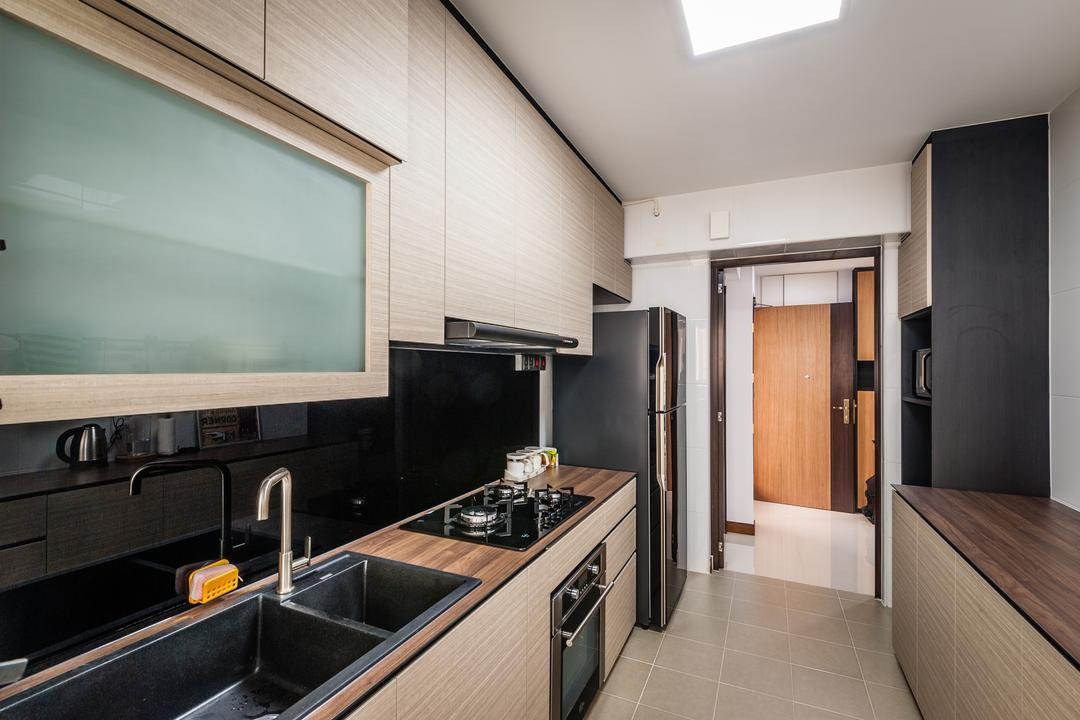Punggol Waterway Terraces, Le Interi, Scandinavian, Kitchen, HDB, Laminate Kitchen Top, Ceiling Lighting, Tinted Screen Cabinet, Appliance, Electrical Device, Oven, Plywood, Wood