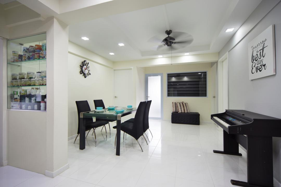 Bedok, Space Concepts Design, Modern, Dining Room, HDB, Modern Contemporary Dinign Room, Dining Table, Black Dining Chair, Ceiling Fan, , Recessed Lights, Furniture, Table, Indoors, Interior Design, Room