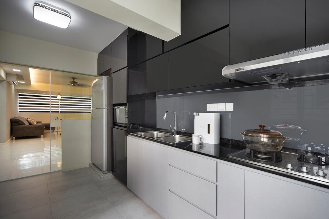 Bedok, Space Concepts Design, Modern, Kitchen, HDB, Modern Contemporary Kitchen, Marble Floor, White Kitchen Cabinet, White Kitchen Cupboard, Black Kitchen Cabinet, Black Kitchen Cupboard, Black Laminated Top, Ceiling Lights, Sink
