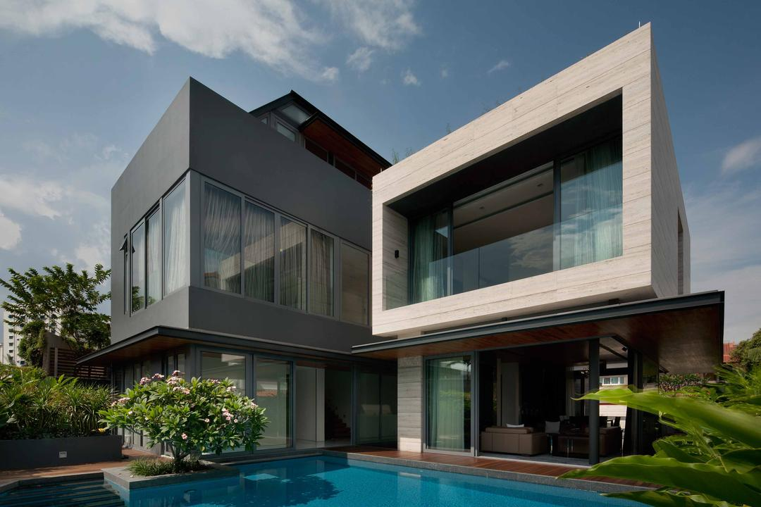 Serangoon (Travertine Dream House), Wallflower Architecture + Design, Minimalistic, Landed, Exterior, Square Architecture, Square Buildings, Plants, Indoor Pool, Private Pool, House Pool, Flora, Jar, Plant, Potted Plant, Pottery, Vase, Building, House, Housing, Villa