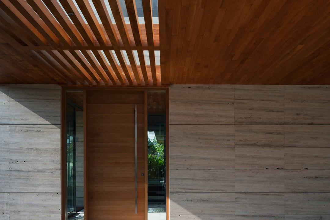 Serangoon (Travertine Dream House), Wallflower Architecture + Design, Minimalistic, Landed, Beam Ceiling, Wooden Ceiling, Concrete Flooring, Grey Flooring, Gray Flooring, Wooden Door, Porch, Wood