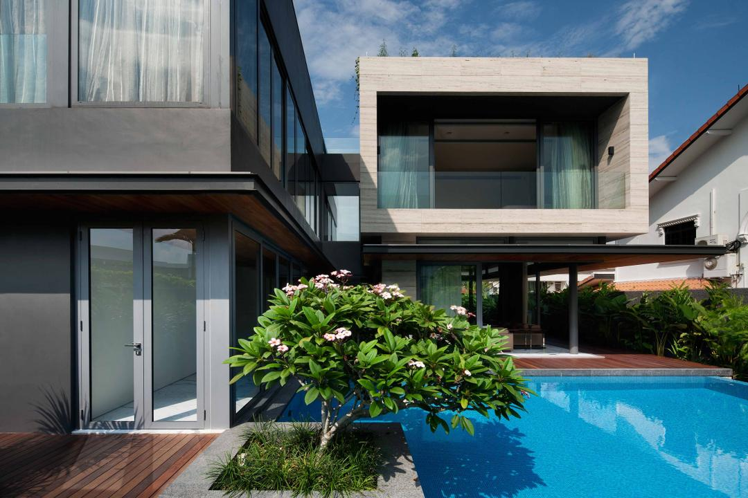 Serangoon (Travertine Dream House), Wallflower Architecture + Design, Minimalistic, Landed, Square Architecture, Black Walls, Plants, Steps, Wooden Flooring, Indoor Pool, House Pool, Private Pool, Pool, Porch, Bonsai, Flora, Jar, Plant, Potted Plant, Pottery, Tree, Vase, Architecture, Building, Housing