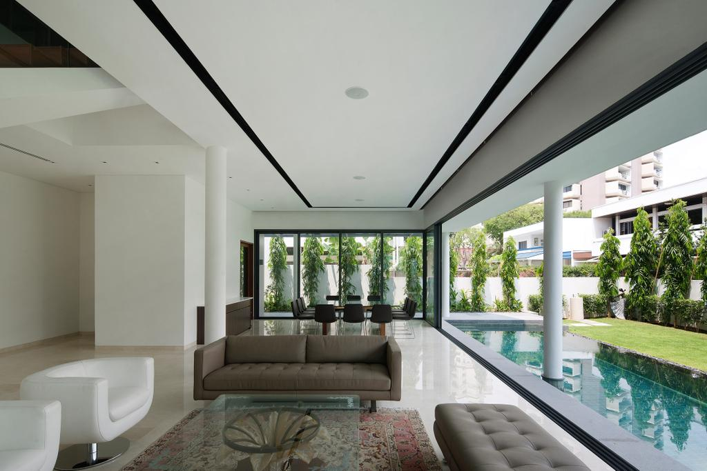 Modern, Landed, Living Room, East Coast (Wind Vault House), Architect, Wallflower Architecture + Design, Modern Theme, Water Surrounded Platform, White Chairs, Cushioned Chairs, Coffee Table, Cushioned Bench, Sofa, Pool, Water, Toilet, Building, House, Housing, Villa, Couch, Furniture
