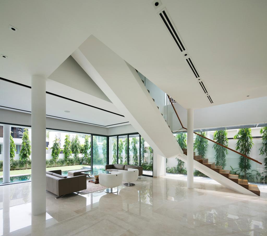 Modern, Landed, Living Room, East Coast (Wind Vault House), Architect, Wallflower Architecture + Design, White Flooring, Stairway, Glass Railing, High Ceiling, White Beams