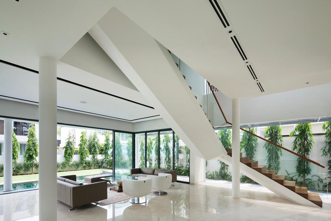 East Coast (Wind Vault House), Wallflower Architecture + Design, Modern, Living Room, Landed, White Flooring, Stairway, Glass Railing, High Ceiling, White Beams