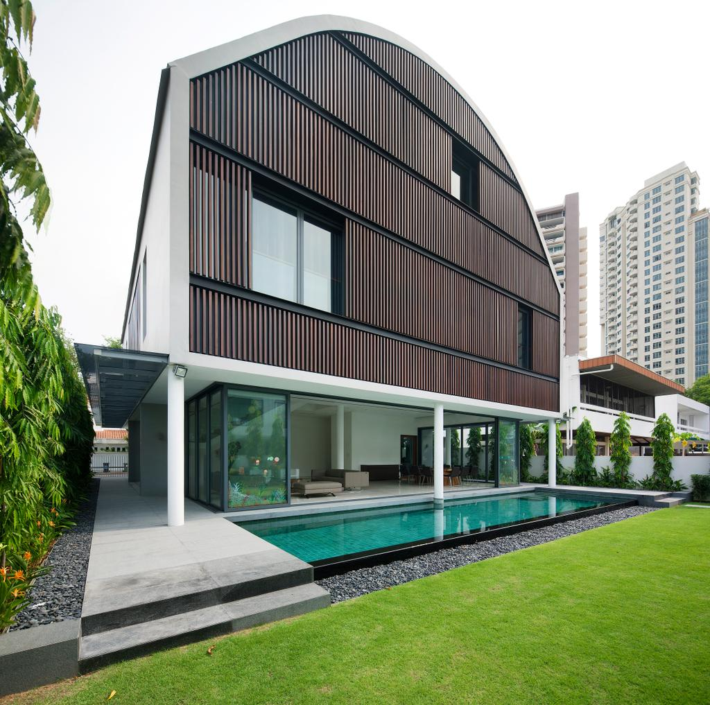 Modern, Landed, East Coast (Wind Vault House), Architect, Wallflower Architecture + Design, Exterior View, Wooden Walls, Indoor Pool, House Pool, Small Pool, Private Pool, Grass Patch, Pebble Trail, Steps, Building, House, Housing, Villa, Office Building