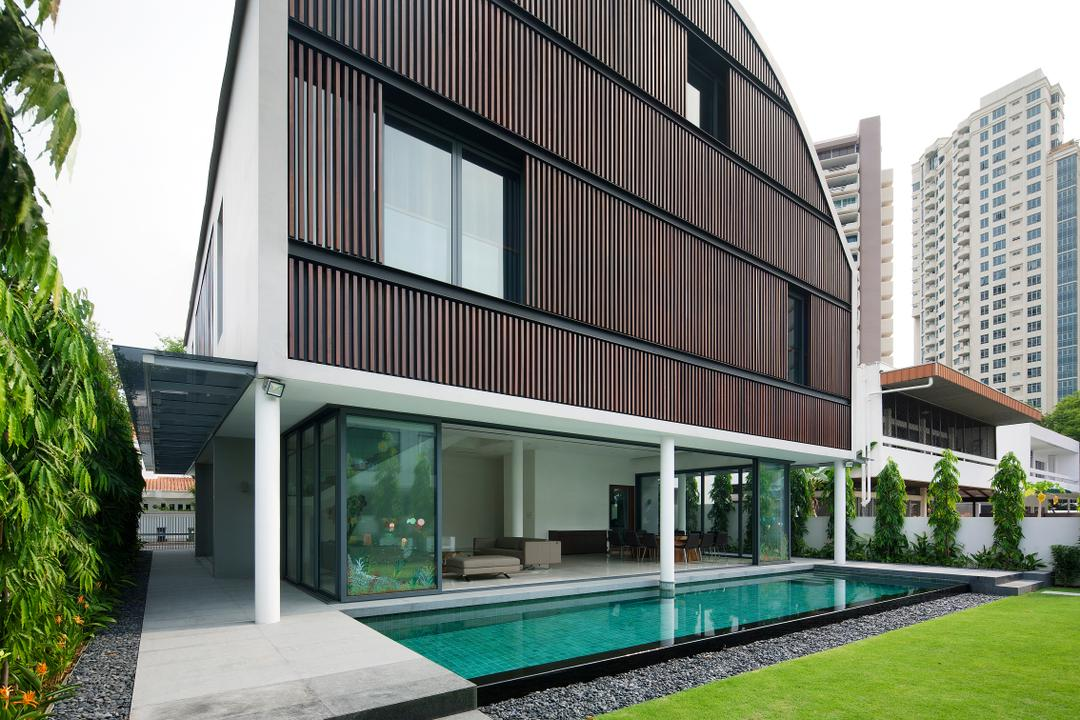 East Coast (Wind Vault House), Wallflower Architecture + Design, Modern, Landed, Exterior View, Wooden Walls, Indoor Pool, House Pool, Small Pool, Private Pool, Grass Patch, Pebble Trail, Steps, Building, House, Housing, Villa, Office Building
