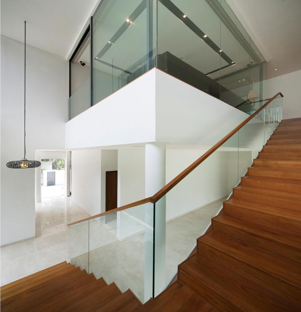 Modern, Landed, East Coast (Wind Vault House), Architect, Wallflower Architecture + Design, Brown Stairway, Brown Steps, Glass Railings, Glass Walls, White Beams, Hanging Lights, White Walls, Banister, Handrail