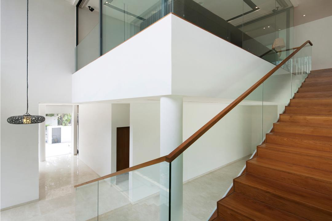 East Coast (Wind Vault House), Wallflower Architecture + Design, Modern, Landed, Brown Stairway, Brown Steps, Glass Railings, Glass Walls, White Beams, Hanging Lights, White Walls, Banister, Handrail