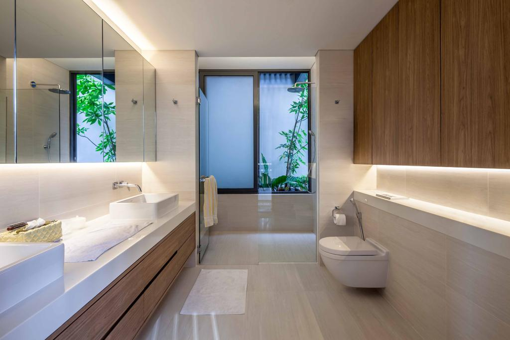 Modern, Landed, Bathroom, Bukit Timah (Far Sight House), Architect, Wallflower Architecture + Design, Wooden Cabinets, Concealed Lights, White Flooring, White Sink Top, Brown Cabinets, Mirror Cabinets, Flora, Jar, Plant, Potted Plant, Pottery, Vase, Indoors, Interior Design, Room, Door, Sliding Door, Jacuzzi, Tub