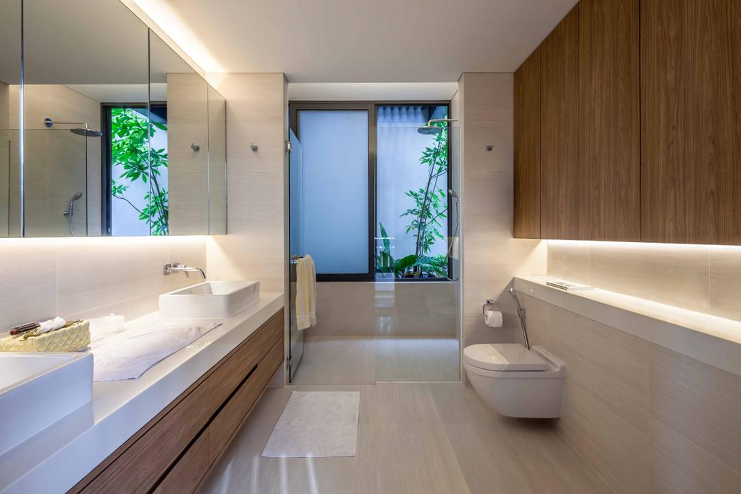 Bukit Timah (Far Sight House), Wallflower Architecture + Design, Modern, Bathroom, Landed, Wooden Cabinets, Concealed Lights, White Flooring, White Sink Top, Brown Cabinets, Mirror Cabinets, Flora, Jar, Plant, Potted Plant, Pottery, Vase, Indoors, Interior Design, Room, Door, Sliding Door, Jacuzzi, Tub