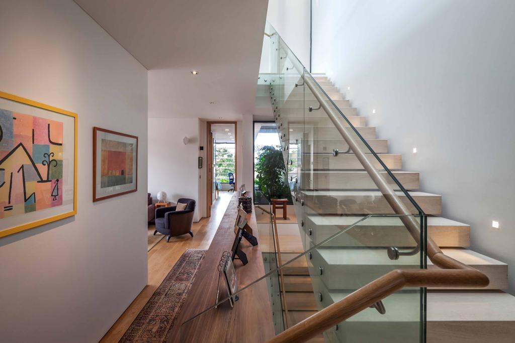 Modern, Landed, Bukit Timah (Far Sight House), Architect, Wallflower Architecture + Design, Stairway, Portrait, Wallart, Wooden Floorin, Glass Railings, Step, Stairway Lighting, Banister, Handrail, Staircase, Art, Modern Art, Flooring