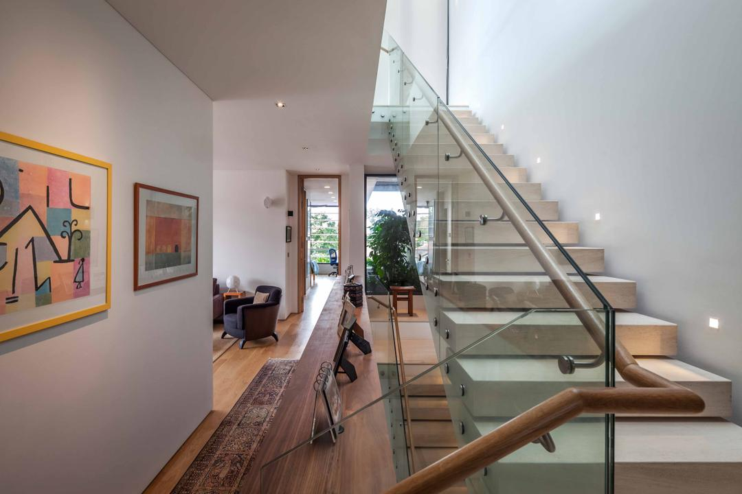 Bukit Timah (Far Sight House), Wallflower Architecture + Design, Modern, Landed, Stairway, Portrait, Wallart, Wooden Floorin, Glass Railings, Step, Stairway Lighting, Banister, Handrail, Staircase, Art, Modern Art, Flooring