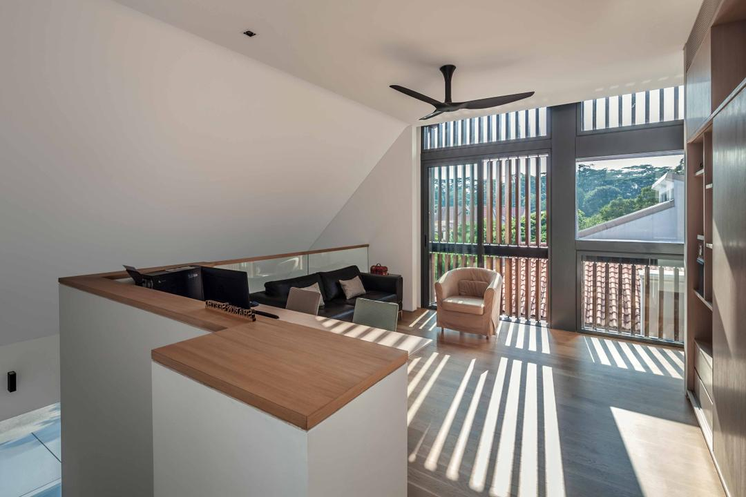 Bukit Timah (Far Sight House), Wallflower Architecture + Design, Modern, Landed, Ceiling Fan, Resting Lounge, Cushioned Chair, Dining Room, Indoors, Interior Design, Room